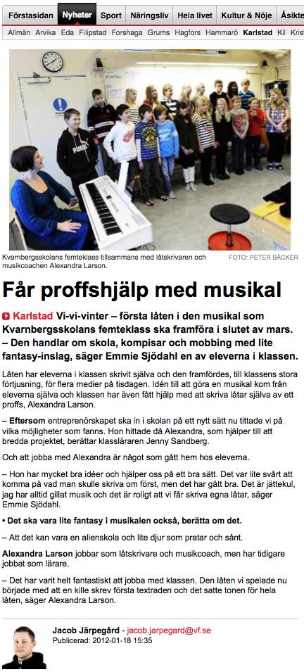 Artikel i VF om låtskrivarprojektet på Kvarnbergsskolan