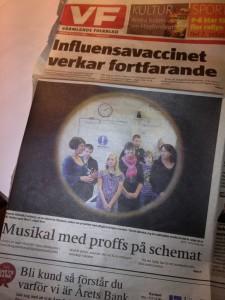 Musikal med proffs på schemat – Kvarnbergsskolan & Alexandra Larson, framsidan VF 120118